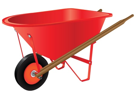 Single-wheel wheelbarrow for industrial work.  illustration.