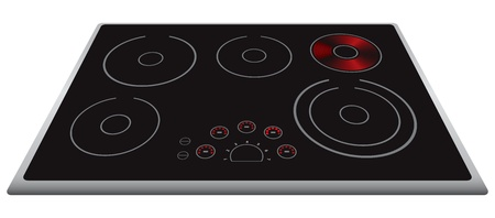 cooktop: Modern electric stove surface with the included element.  illustration.