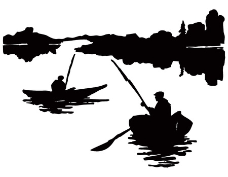 Landscape with fishermen in a boat on the open water Vector