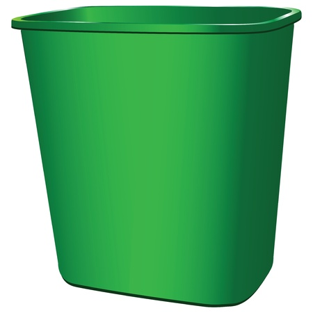 Plastic garbage container for office and home. Vector