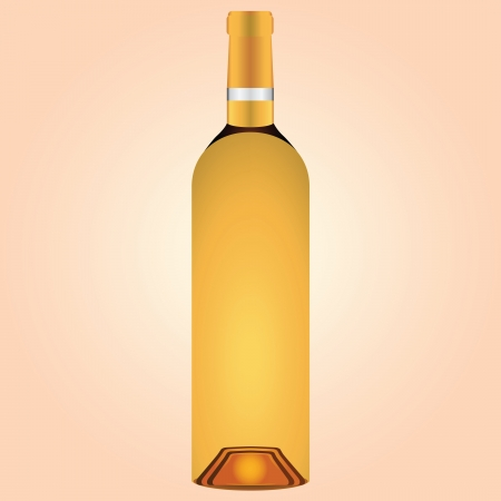 A bottle of white wine. Vector illustration.