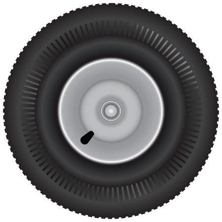 Car tire with tread. Transport. Vector illustration. Ilustração
