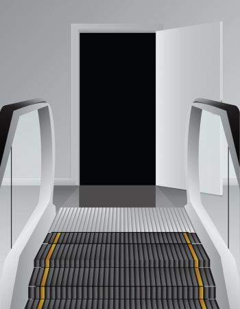 shopping center interior: Escalator before the black doorway. Vector illustration.