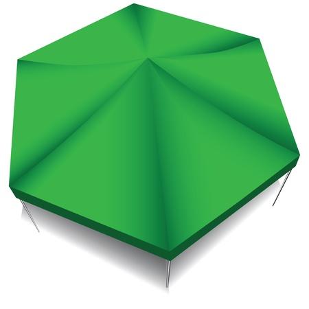 vista desde arriba: Canopy Industrial de tela verde. Vista desde arriba. Ilustraci�n del vector.