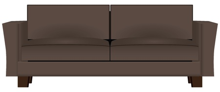 Brown sofa for home or business.  Illustration
