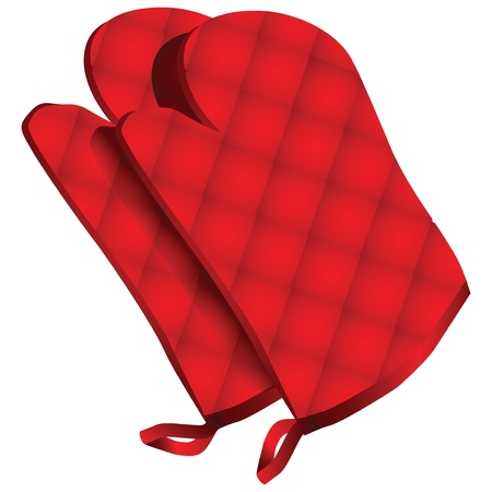 Pr�s de cuisine gant de protection sur fond blanc avec chemin de d�tourage. Vector illustration.