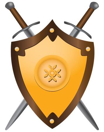 esgrima: Un conjunto de doble filo espadas escudo medieval. Vector ilustraci?n.