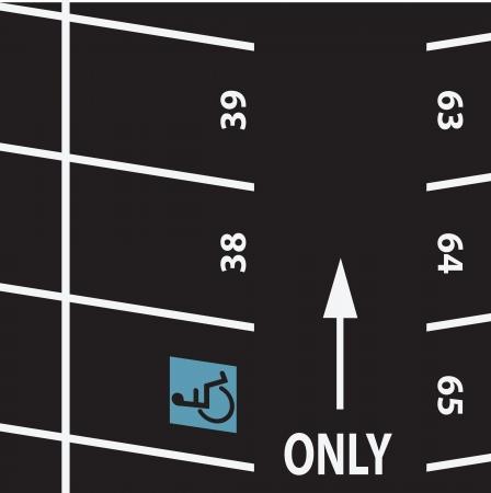 Parkeren met het symbool voor gehandicapten. Vector illustratie. Stock Illustratie