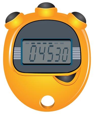 Digital stopwatch with four buttons. Vector illustration. Ilustração