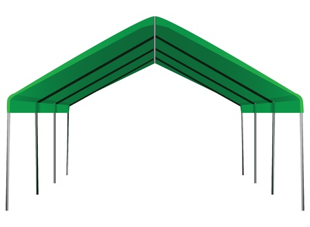 sectional: Large industrial shed for different weather conditions. Vector illustration.