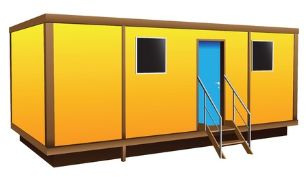 building site: Simple shield Mobile home for temporary residence. Vector illustration. Illustration