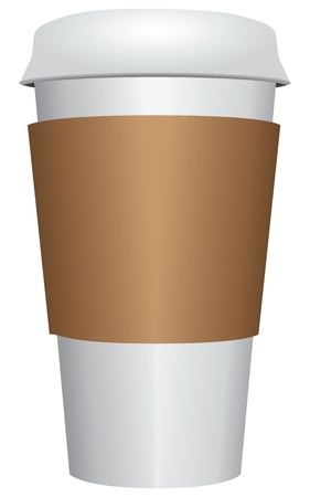 take: Plastic coffee cup with white cover and a cardboard label. Vector illustration.