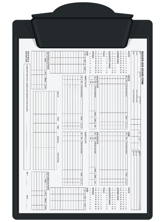 Clipboard with soccer box score sheet. Vector illustration.