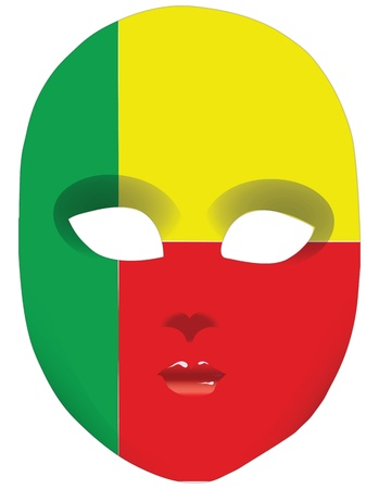 Classic mask with symbols of statehood of Benin. Vector illustration Vector