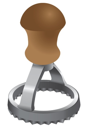 Round Ravioli Stamp. Culinary device. Vector illustration. Иллюстрация