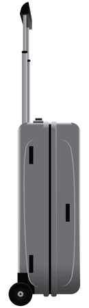 Steel case on wheels with retractable handle.