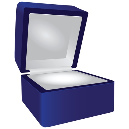 Blue gift box for jewelry. Vector illustration.