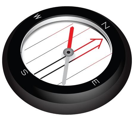 Simple tourist compass with a transparent core. Vector illustration. 向量圖像
