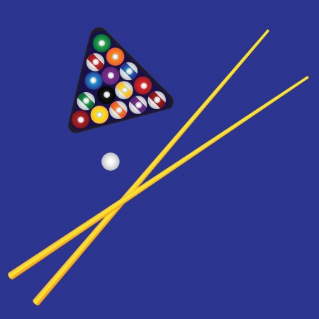 individual sports: Billiard triangle with colorful billard balls. Vector illustration. Illustration