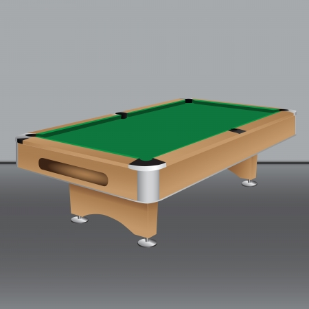 Pool table with a green cloth. Vector illustration. Çizim