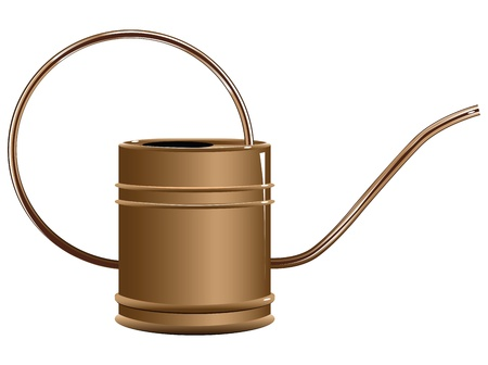 Copper watering can for watering on a personal plot. Vector illustration.