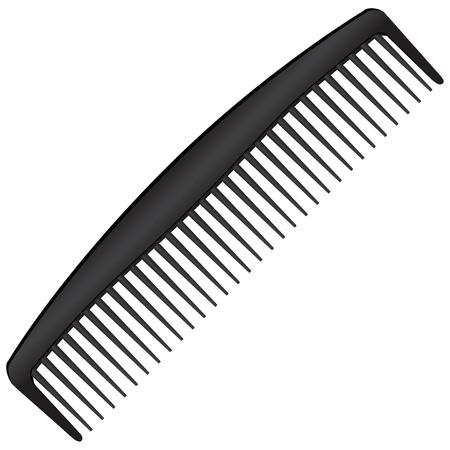 comb: Mens black comb with a few teeth. Vector illustration.