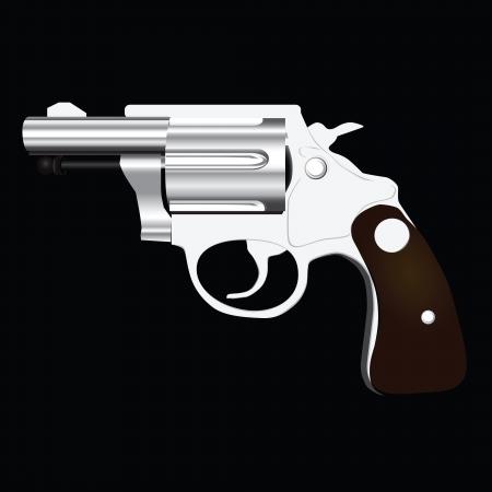 Revolver with a short barrel. Vector illustration.
