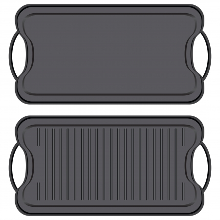 Cast iron non-stick Griddle - kitchen equipment. Vector illustration.  イラスト・ベクター素材