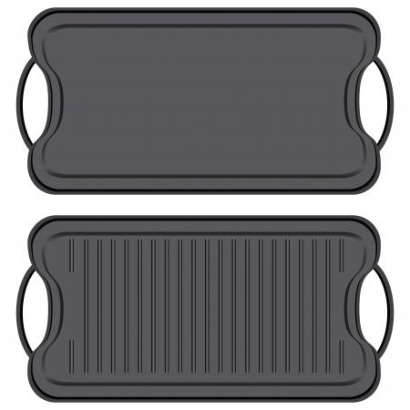 bakplaat: Gietijzer non-stick grillplaat - keukenapparatuur. Vector illustratie.
