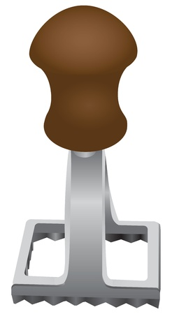 The device for the production of ravioli - square metal stamp. Vector illustration. Illustration