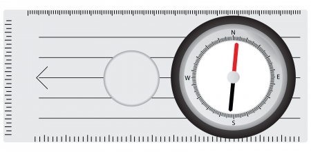 Tourist compass with additional scale grid, a magnifying glass. Vector illustration. Vector