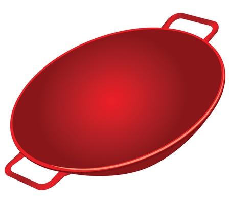 Classic cast iron wok red. Vector illustration.