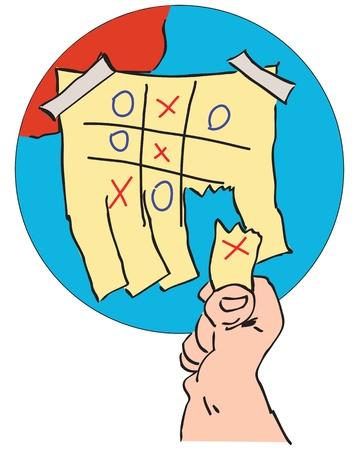 show bill: Creativo - soluci�n. Anuncio de un juego de tic tac. Ilustraci�n del vector.