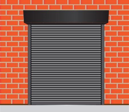 abandoned warehouse: Metal gates for warehouse, garage and other industrial buildings. Vector illustration. Illustration