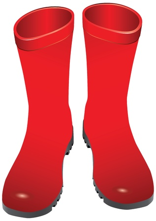 gumboots: Red rubber boots for wet weather. Vector illustration.