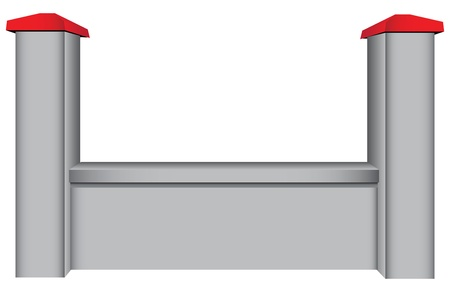 The segment of the concrete fence with two columns. Vector illustration.