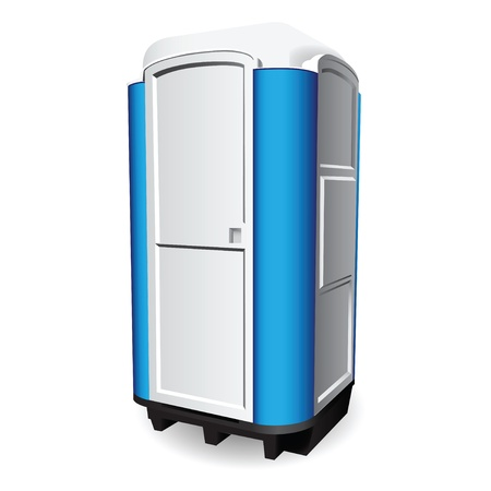 Mobile toilet used in public places. Vector illustration.