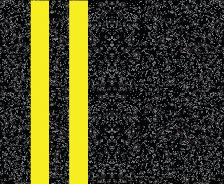 tarmac: Road markings on the pavement. Double yellow centerline. Vector illustration.