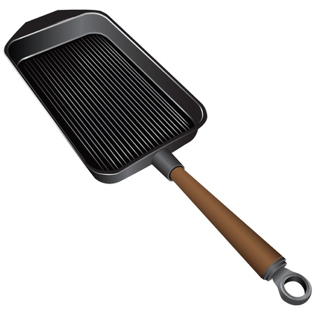 cast iron: Rectangular cast-iron frying pan with a smooth surface - grilling. Vector illustration.
