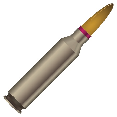millimetres: Sleeve with a bullet - reloading. Vector illustration.