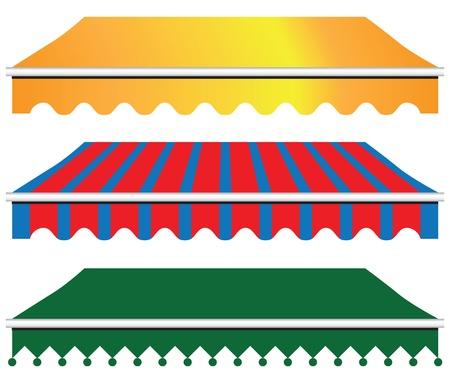 Zonnescherm Luifel in drie versies. Vector illustratie.