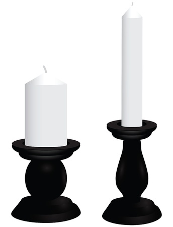 Black candlesticks with white candles. Vector illustration.