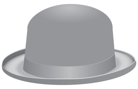 derby hats: The bowler hat, also known as a bob hat. Vector illustration.