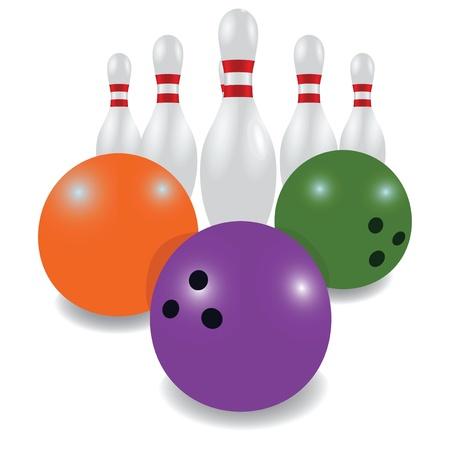 quilles: Boules violettes, vertes et oranges et des quilles de bowling. Vector illustration.