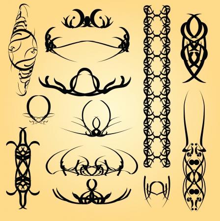 calligraphic design: Set of calligraphic symbols for design. Vector illustration. Illustration