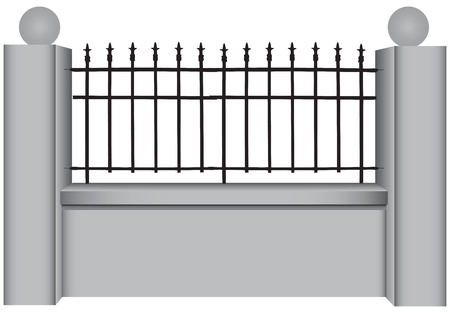 Concrete fence with classic steel bars. Vector illustration. Stock Vector - 20106960