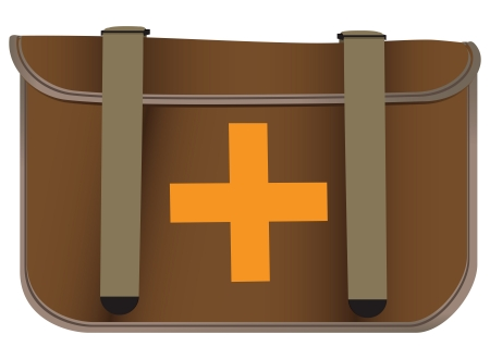 First aid bag made of cloth intercepted straps. Vector illustration.