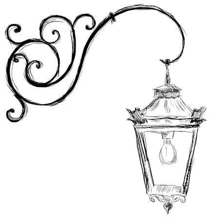 lamp: The lamp in the old style illustration.