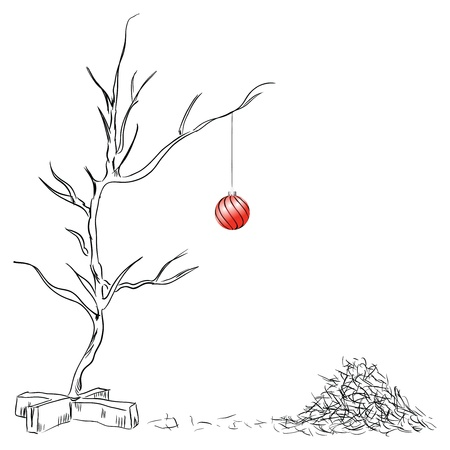 chipped: Lonely Christmas ball on the tree chipped drawing hand.