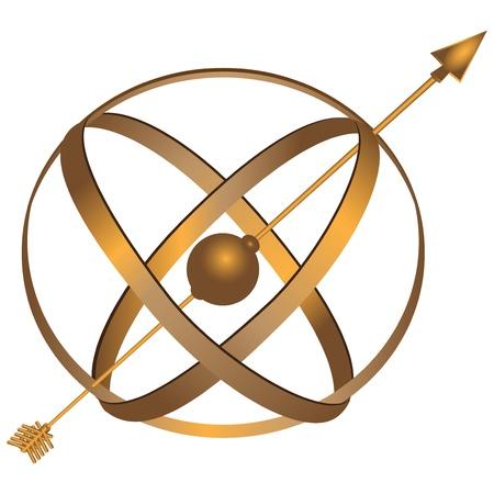 cadran solaire: M�tal sph�rique astrolabe utilis� pour la navigation de base via les �toiles et illustration de soleil.